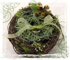 Love Nest A Ringbearers Nest Made Of Twigs And by sparkleandposy. So cute for an outdoor wedding!