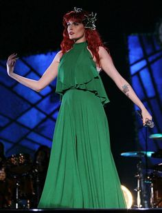 """Florence and the Machine """"Take Care"""" Kimono Fashion, Boho Fashion, Fashion Dresses, Florence Welsh, Florence Welch Style, Enchanted Forest Wedding, Green Suit, Laurel Canyon, Florence The Machines"""