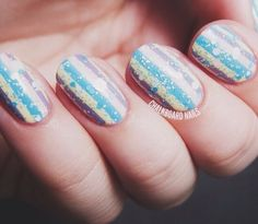 Als Awareness Pinstripe Nail Art Miscellaneous Nail Art
