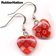 Millefiori Hearts Murano Glass Bead .925 Sterling Silver Earrings RED