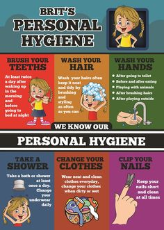 Habits that are formed in early years last with the child throughout his life. So it is very important to teach healthy hygiene practices to youngsters. When kid see this poster a visual image is formed, and kid learn the basic hygiene habits need to follow on daily routine basis. This will work as a reinforcement.