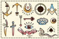 40 Tattoo Flash (full colors) ~ Icons on Creative Market (cool doodles on skin) Knuckle Tattoos, Finger Tattoos, Body Art Tattoos, Sleeve Tattoos, Tatoos, Mini Tattoos, Small Tattoos, Mandala Tattoo Mann, Tattoo Filler