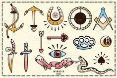 I like the anchors and horseshoe. I really like old school tattoo flash