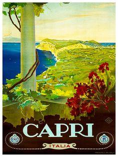 Art Italy Travel Poster Capri Print Vintage ZT246 by Blivingstons