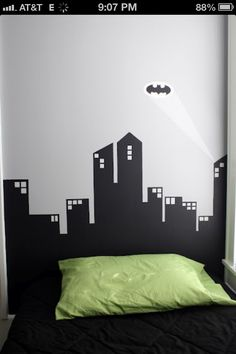 Modern Super Hero Room: silhouette wall murals, comic book canvas art, super hero fabric pattern- pillows, rug, couch cover, day bed. 1.Grey,purple,yellow,green 2.Black,red,blue,yellow
