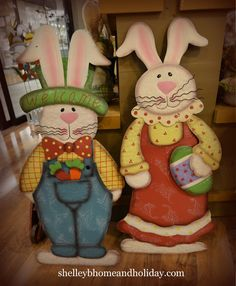 Easter Bunny Couple Metal Standing Shapes