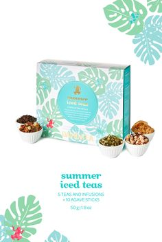 A summery collection of five limited edition iced teas plus a pack of agave sticks.