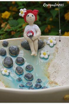 Ceramic bird bath for hanging Bird bath Elena Ceramic Bird Bath, Ceramic Birds, Ceramic Art, Hanging Bird Bath, Diy Bird Bath, Cup Art, Pottery Art, Art Dolls, Diy And Crafts