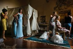 Getting ready in the bridal suite Castello di Meleto David Bastianoni photographer
