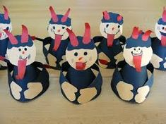 In northern & eastern Europe, there are Christmas beings to encourage you to be good all year. Krampus is one, in Switzerland. I need to look up the stories around dif countries. Z papíru jsme vystřihli a slepili malé čertíky. Winter Art, Winter Time, Christmas Gifts, Holiday, Pre School, Preschool Activities, Paper Cutting, Kids Crafts, Bowser