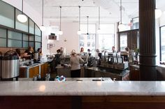 La Colombe Torrefaction - beautiful and elegantly decorated with huge glass windows and polished wooden tables. A wonderfully calm and friendly environment 400 Lafayette St, New York, NY 10003
