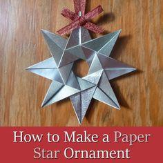 Cómo hacer un ornamento de la estrella de papel para las instrucciones de té de la Navidad Bolsa plegable del arte Tutorial