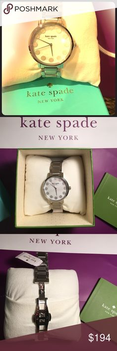 """♠️SALE♠️KATE SPADE WATCH ,GRAMERCY """"DOT """" BRAKET ! ♠️LIVE COLORFULLY WITH THIS AUTHENTIC,BRAND NEW GRAMERCY DOT ,SILVER WATCH . PROTECTIVE PLASTIC STILL ON GLASS & UNDERSIDE . MOTHER OF PEARL FACE ! BOUGHT AT VON MAUER . RETAIL$195. COMES W BOX PILLOW ,WARRANTY& SERVICE BOOK . kate spade Accessories Watches"""