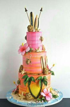Photos of custom wedding cakes designed by Rick Reichart of cakelava Las Vegas, NV. Cupcakes, Cupcake Cakes, Cupcake Art, Gorgeous Cakes, Amazing Cakes, Hawaii Cake, Beach Cakes, Luau Cakes, Flamingo Cake