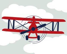 Baby Boy Nursery Print Airplane Art Red & by SlightlySprightly