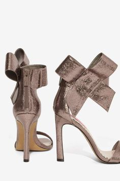 Frisky Bow Leather Heel - Silver - Shoes | Open Toe