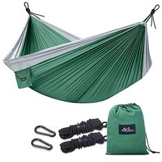Green//Olive Perfect for Camping Beaches Camco Camping Hammock with Attached Storage Bag Parks 51240 Durable Comfortable Nylon Material Porches Hiking Supports 400 lbs Patios and Indoors -