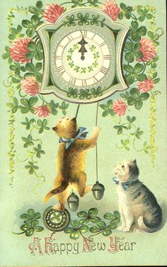 "Edwardian ""A Happy New Year"" Postcard with Gilt & Embossing .... Series of Four Cards ...."