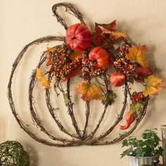 Harvest Splendor Pumpkin Wreath from Figi's is a nice addition to you fall decor. Harvest Splendor Pumpkin Wreath from Figi's is a nice addition to you fall decor. Harvest Decorations, Thanksgiving Decorations, Autumn Wreaths, Holiday Wreaths, Manualidades Halloween, Pumpkin Wreath, Autumn Decorating, Autumn Crafts, Fall Projects