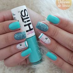 Nail art is very important for those who seek attention! We have gathered 35 stylish nail art designs for you to give a try in Purple Nail Art, Green Nail Art, Green Nails, Blue Nails, My Nails, Color Nails, Gorgeous Nails, Pretty Nails, Diamond Nail Art