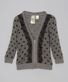 Take a look at this Charcoal Polka Dot Lace Zip-Up Cardigan - Girls by Live to be Spoiled on #zulily today!