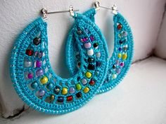 Crochet hoops with beads