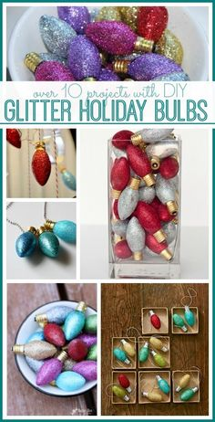 love this idea to use glitter holiday christmas light bulbs -  for diy crafts, projects, gifts, ornaments, decor, you name it - so cute!! -- Sugar Bee Crafts