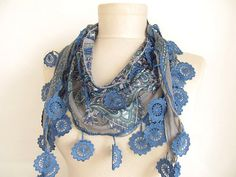 Scarf Fringed Guipure Scarf Fabric Knitted Lace Scarf  by asuhan, $12.00