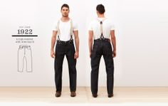 Levi's 1922 501 jeans WITH suspenders and suspender tabs (size 33/32)