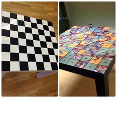 Lack ikea tables up cycled in to games tables by www.lacunnagraphics