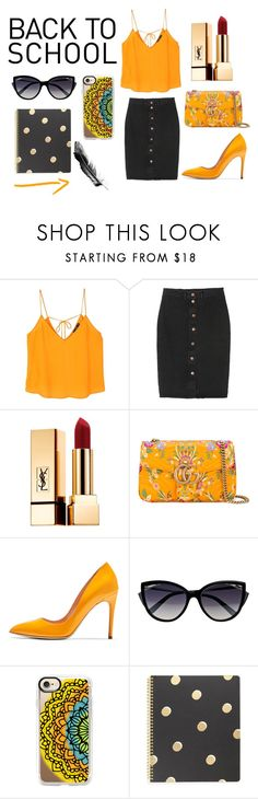 """Sin título #506"" by candy-nohemi-velazco-mendiola ❤ liked on Polyvore featuring MANGO, Monki, Yves Saint Laurent, Gucci, Rupert Sanderson, La Perla, Casetify and Kate Spade"