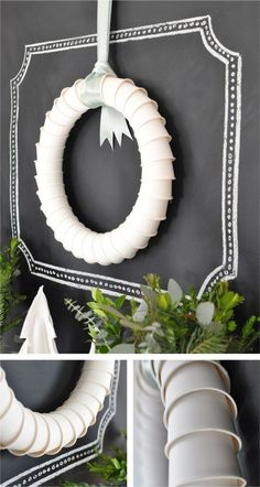 Cute wreath idea - LOVE the chalkboard 'framing' - but mostly I pinned this for the ribbon-hanger.