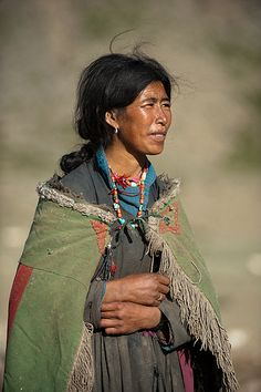 Nomad woman in traditional clothes - Rina, Ladakh, Jammu and Kashmir, India