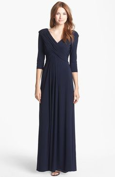 Patra Blue Criss Cross Front V Neck Jersey Gown