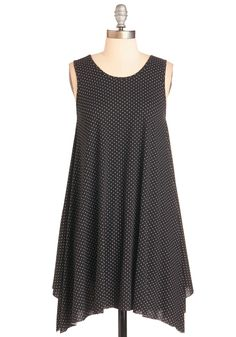 """The Swingingest Spots Dress in Black Dots. Say, """"Hello!"""" to the most dynamic dots in town - the white polka dots upon this black trapeze dress! #black #modcloth"""