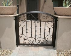 Garden Gates - Wood or Iron Garden Gate - Phoenix, Tucson, Arizona Wrought Iron Security Doors, Wrought Iron Gates, Porch Gate, Iron Garden Gates, Vista House, Front Yard Fence, Front Porch, Front Courtyard, Gate House