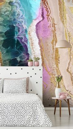 It's true. If you need a simple fix for a room that is craving a makeover, choose this stunning Rock Pool Beach wallpaper designed by the ultra-talented Lara Skinner! With those tones of gold, purple and turquoise, you will create a luxurious yet comfy space in your home. #geodewallpaper #designerwallpaper #bedroomideas