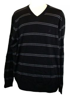 NEW Nautica Mens Sweater V-Neck Striped Knit True Black Sz XXL 2XL NWT $69.50 #Nautica #VNeck