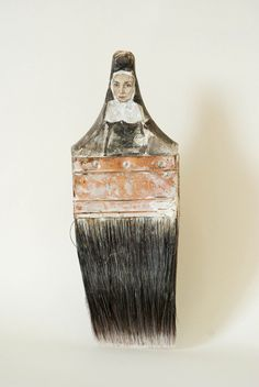 Sculptural Portraits from Paintbrush Handles by Rebecca Szeto