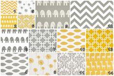 Design your own 3 pcs. SET Custom crib Bedding - Premier prints ele zig zag yellow grey. $220.00, via Etsy.