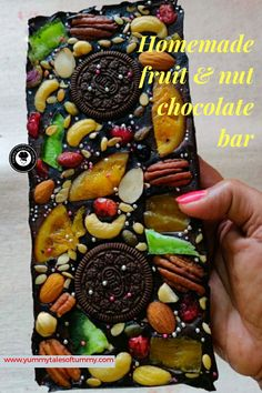 Homemade fruit and nut chocolate bar is pretty to look at and this piece of an art takes only few minutes to put together. It makes for a gorgeous gift idea and so satisfying that it's homemade.
