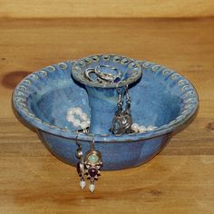Blue pottery earring holder and jewelry storage