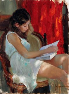 Vladimir Volegov Reading a novel painting for sale - Vladimir Volegov Reading a novel is handmade art reproduction; You can shop Vladimir Volegov Reading a novel painting on canvas or frame. Woman Painting, Figure Painting, Painting & Drawing, Music Painting, Reading Art, Woman Reading, Art And Illustration, Vladimir Volegov, Russian Art