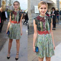 Kiernan Shipka Attends Valentino Fashion Show in a Summery Lace Dress