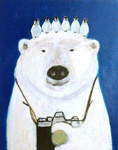 Polar bear and baby penguins by Pepe Shimada. Illustration Mignonne, Children's Book Illustration, Art D'ours, Save The Polar Bears, Penguin Art, Baby Penguins, Bear Art, Illustrations And Posters, Pet Portraits