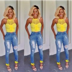 jeans and yellow shirt #style #fashion #outfit