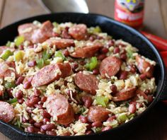 Cajun food makes for delicious, comforting, and flavorful dinners, and that& why One-Pot Red Beans and Rice is perfect for you. When you need a satisfying meal or side dish to warm you up, this recipe for red beans and rice is ideal. Cajun Recipes, Pork Recipes, Cooking Recipes, Recipies, Cajun Food, Skillet Recipes, Skillet Meals, Bean Recipes, Sausage Recipes