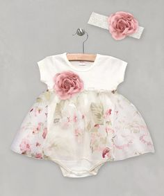 Baby Girl Skirted Bodysuit, Organza Muti Floral Onsie, Newborn Easter Outfit with Headband, TesaBabe