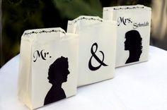 Hochzeitsdeko - 3x Foto - Lichttüten mit Eurer Silhouette - ein Designerstück von Fotogruesse bei DaWanda
