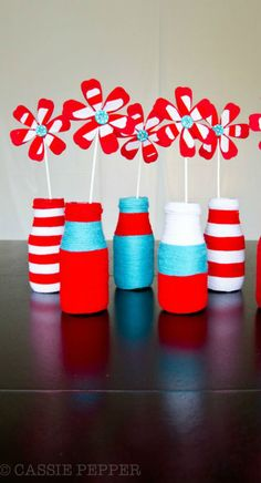 Décor: Yarn Wrapped Bottles  {via The Party Wagon}